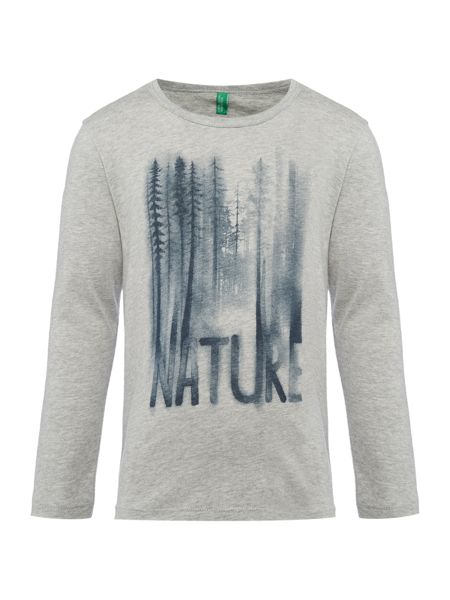 Benetton Boy`s Long Sleeve Tree Graphic Nature T-Shirt