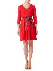Marella NEBBIA V neck 3/4 sleeve box pleat dress