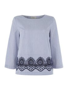 Marella MUSICA longsleeve stripe top with embroidered hem