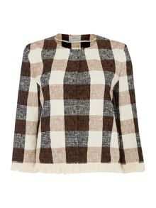 Marella GALLICO longsleeve gingham jacket with frayed hem