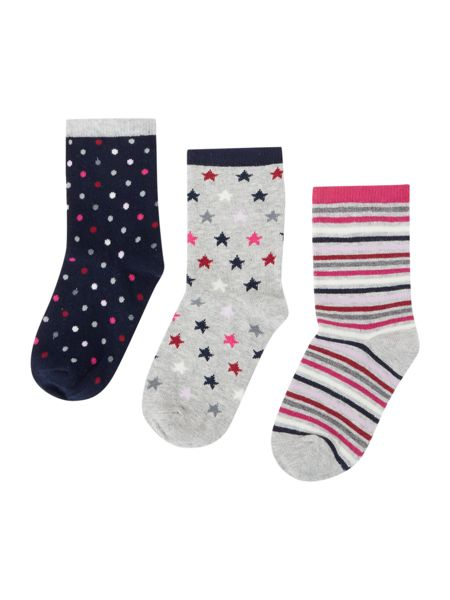 Benetton Girls 3 Pack Hearts and Stripes Socks