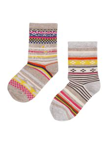 Benetton Girls 2 Pack Patterned Socks