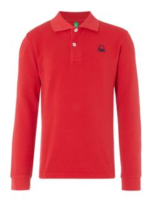 Benetton Boys Long Sleeve Logo Polo Shirt