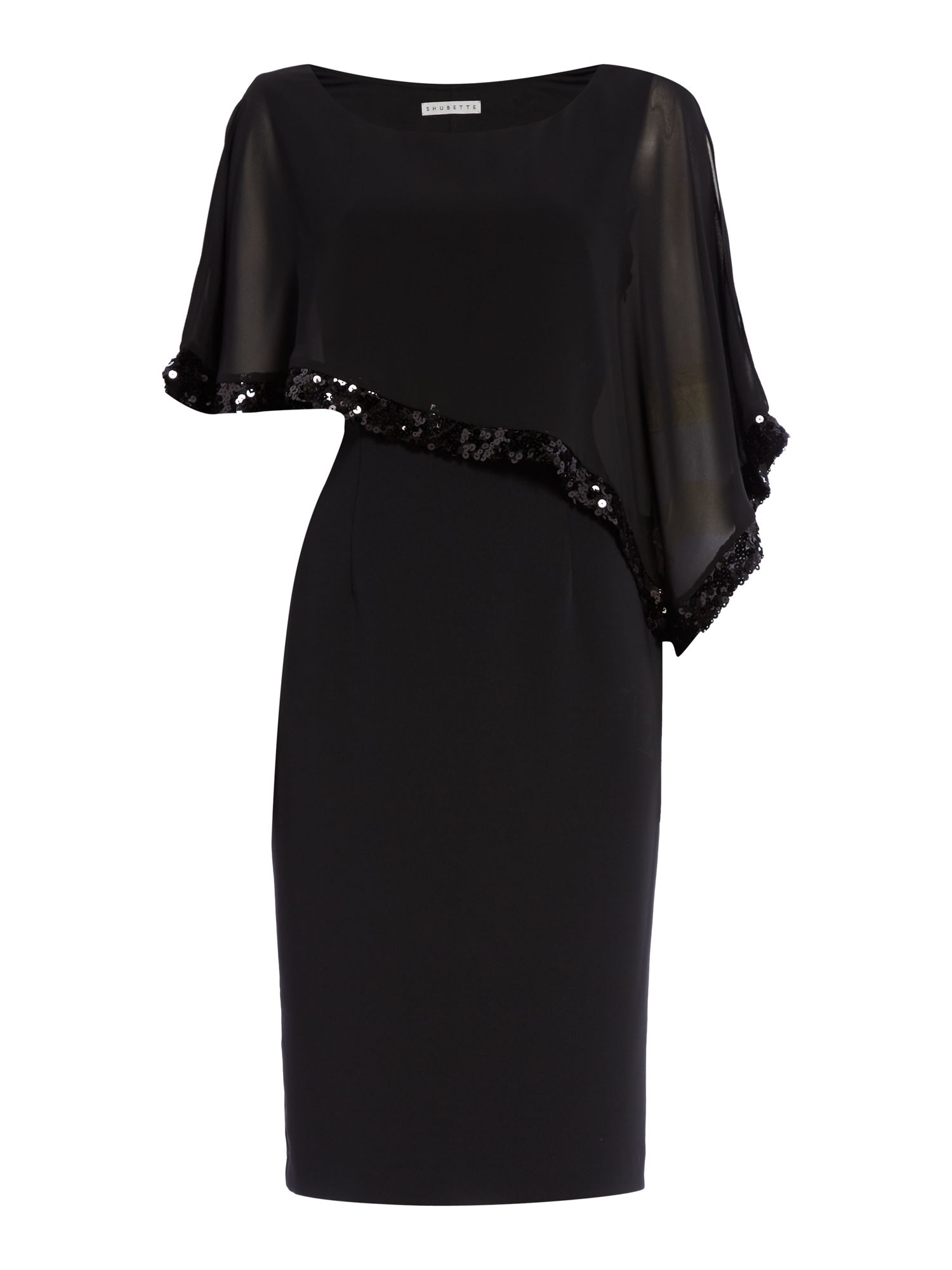 Shubette Chiffon dress with sequin trim, Black