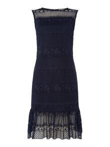 Shubette Sleeveless lace dress with kick hem