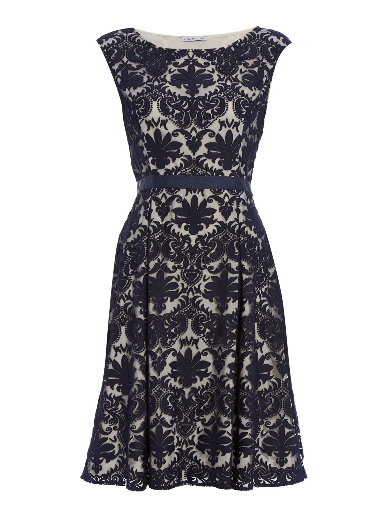 Shubette Shubette Embroidered lace fit and flare dress, Navy