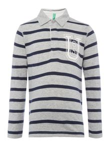 Benetton Boys Fine Stripe Rugby Shirt