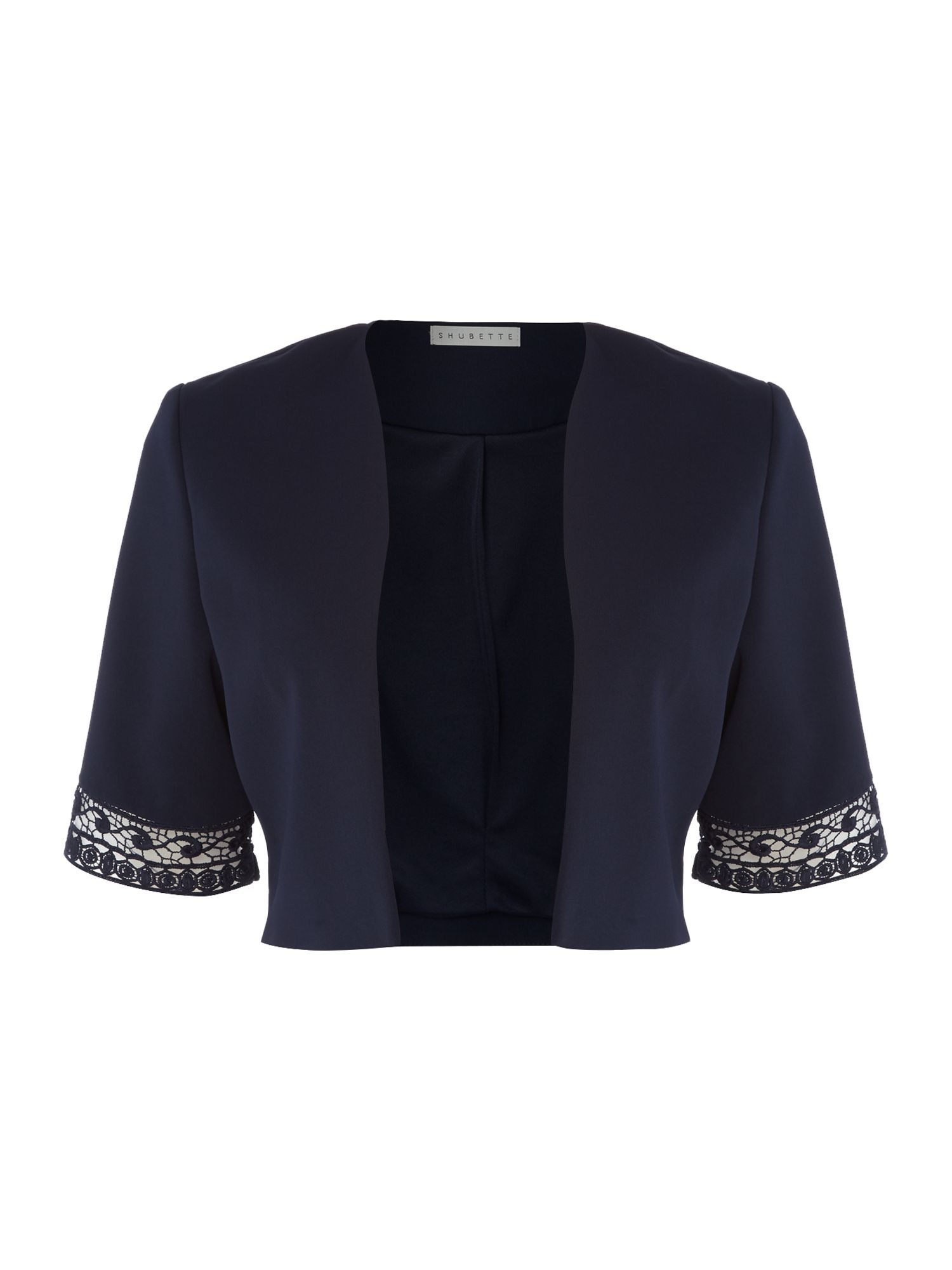Shubette Shubette Crepe jacket with lace detail, Navy