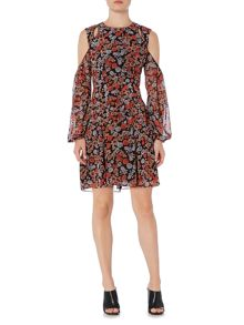Bardot Cold Shoulder Floral Printed Tunic Dress