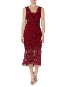 Bardot Sleeveless V Neck Textured Lace Midi Dress