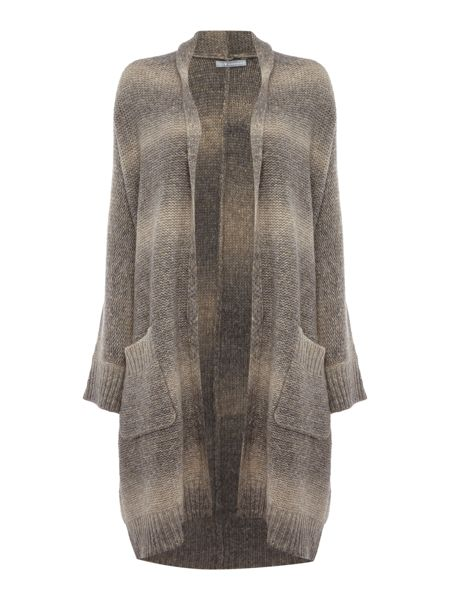 Repeat Cashmere Faded stripe longline cardigan