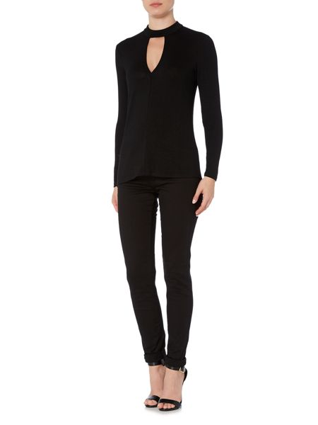 Bardot Long Sleeved High Neck Cut Out Knitted Top