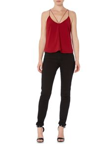 Bardot Sleeveless V Neck Tank with Back Detail Top