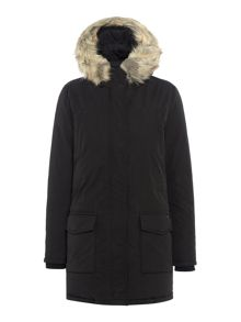 Maison Scotch Hooded down parka with removable faux fur