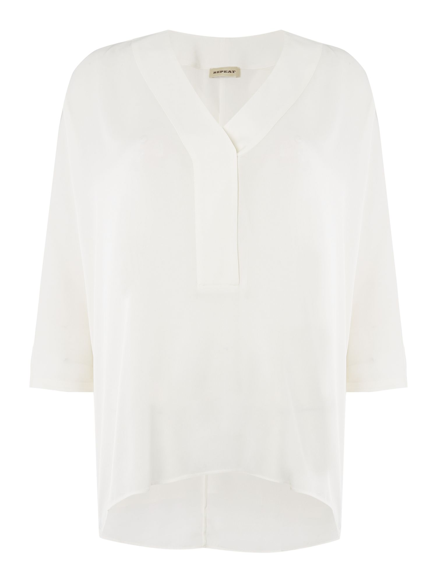 Repeat Cashmere Repeat Cashmere Oversized placket blouse, Cream
