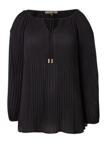 Biba Pleated cold shoulder blouse