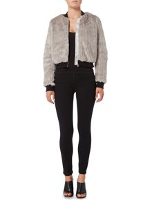 Bardot Long Sleeve Faux Fur Bomber Jacket