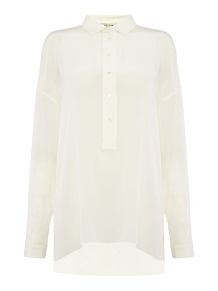 Repeat Cashmere Button front pleated back blouse