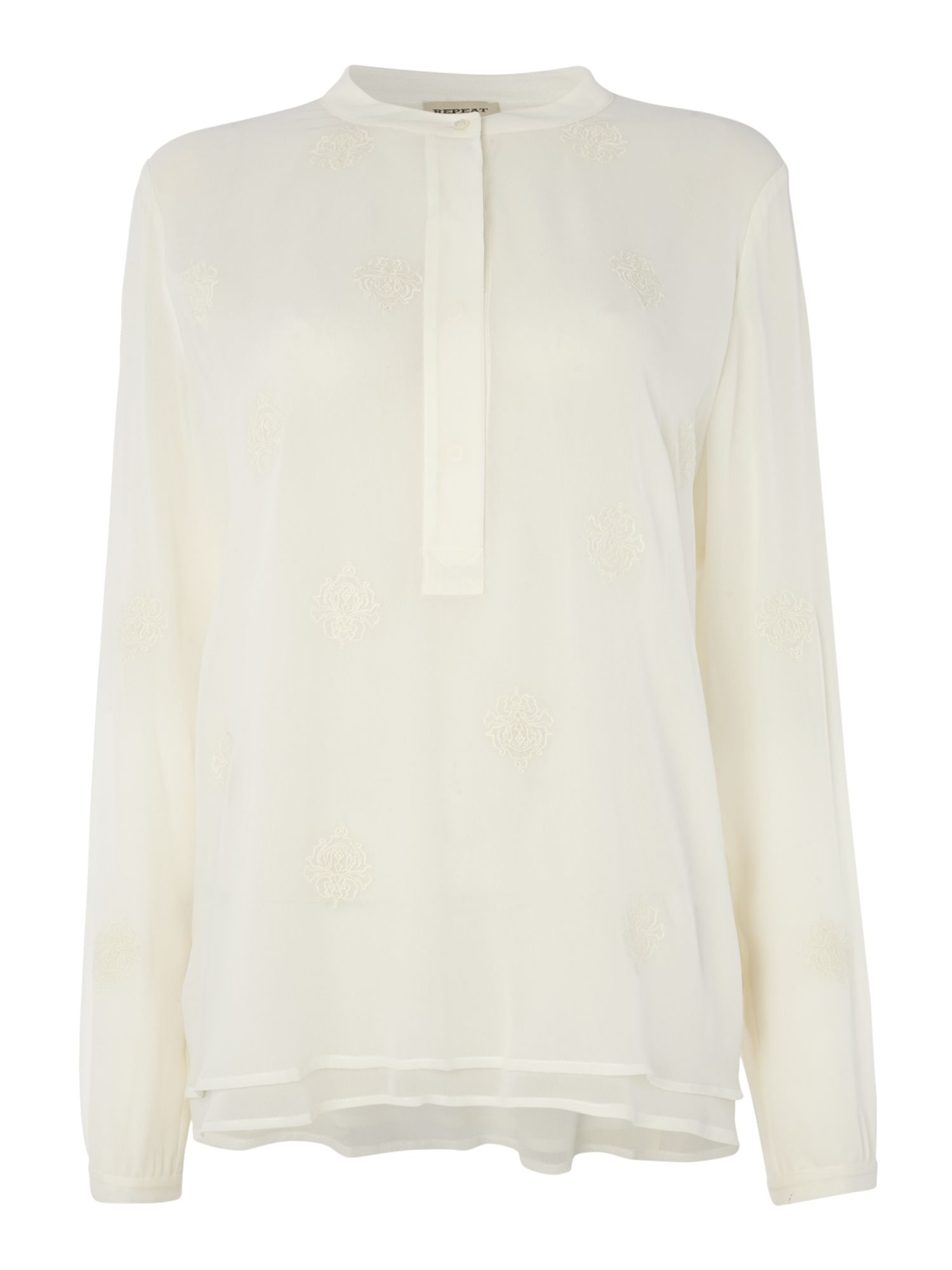 Repeat Cashmere Embroidered blouse, Cream