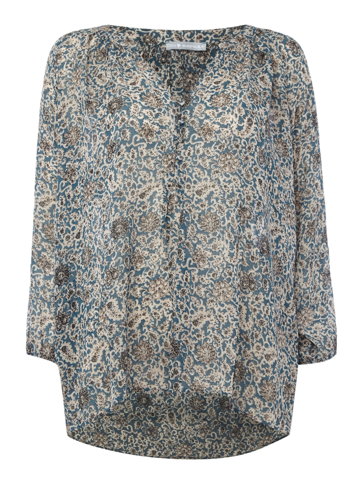 Repeat Cashmere Repeat Cashmere Printed button front blouse, Blue