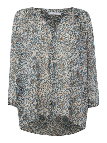 Repeat Cashmere Printed button front blouse