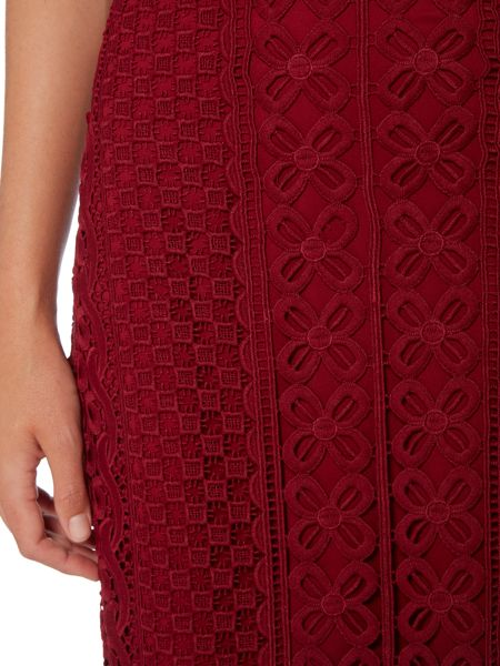 Bardot Lace Applique Pencil Skirt