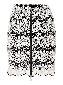 Lace Detail Zip Front Striped Skirt