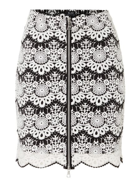 Bardot Lace Detail Zip Front Striped Skirt