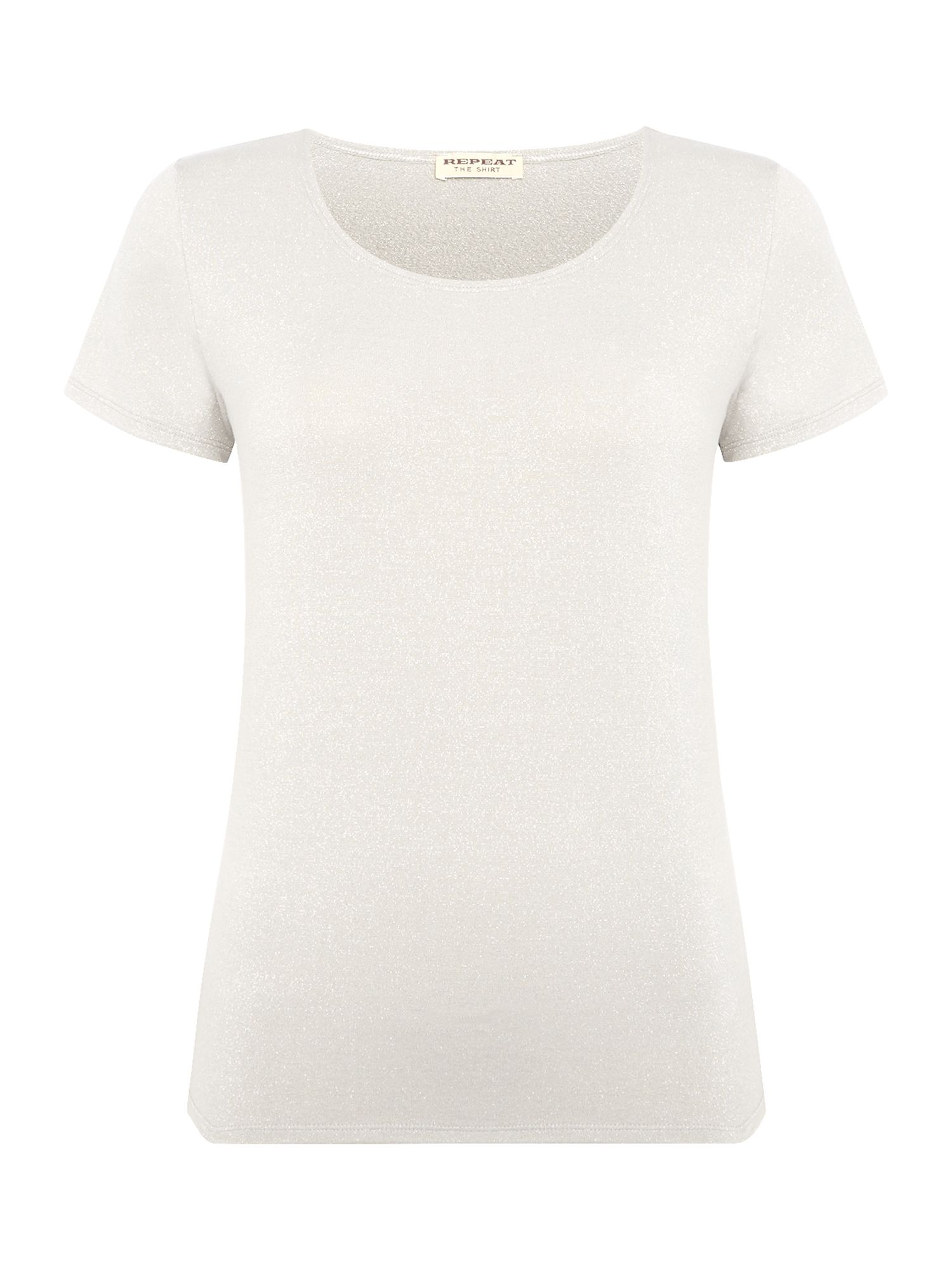 Repeat Cashmere Repeat Cashmere Short sleeve matallic top, Light Grey
