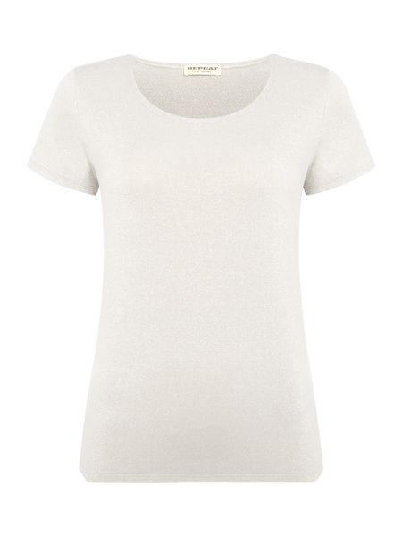 Repeat Cashmere Short sleeve matallic top