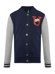 Benetton Boys Contrast Sweat Baseball Jacket