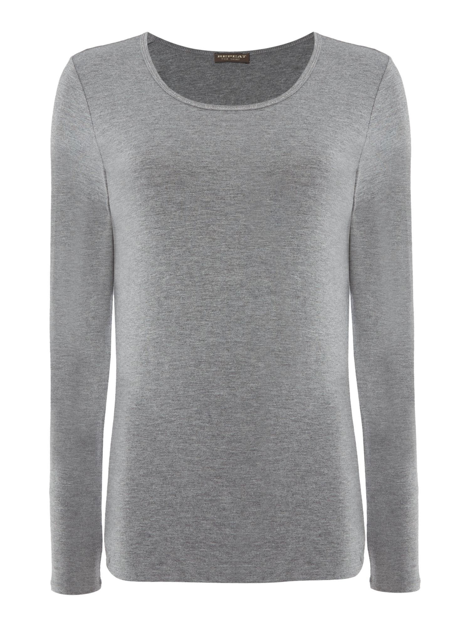 Repeat Cashmere Repeat Cashmere Round neck long sleeve top, Mid Grey