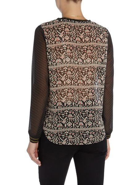 Maison Scotch long sleeve sheer printed top with rib details