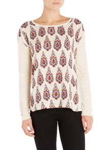 Maison Scotch long sleeve linen tee with printed front