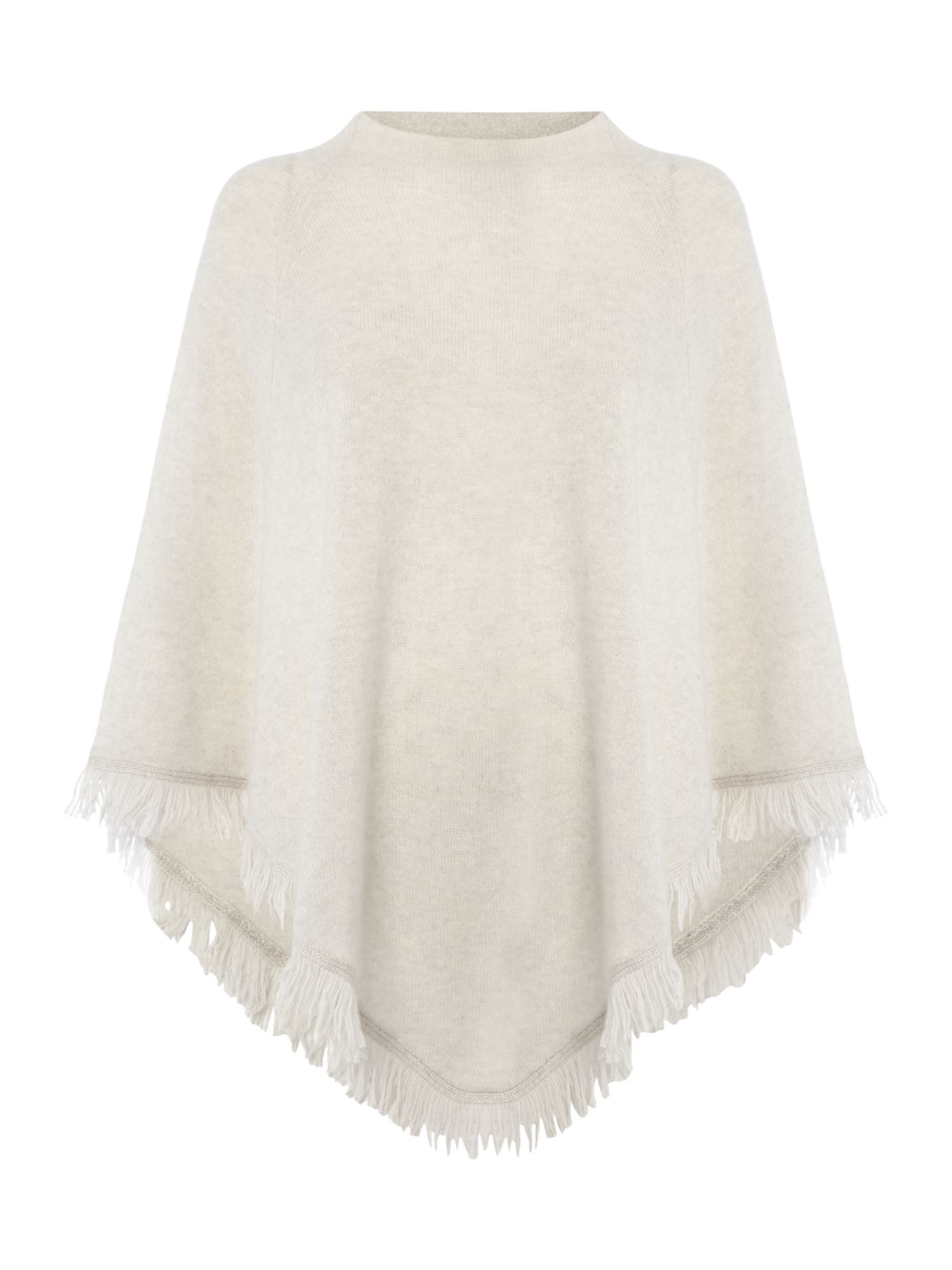 Repeat Cashmere Repeat Cashmere Fringed poncho, White