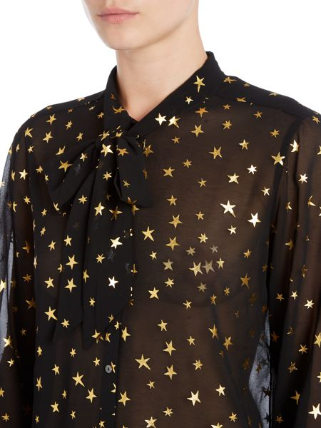 Maison Scotch Long sleeve sheer printed top with tie neck