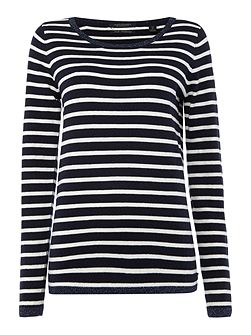 Basic long sleeve stripe pullover jersey top