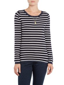 Maison Scotch Basic long sleeve stripe pullover jersey top