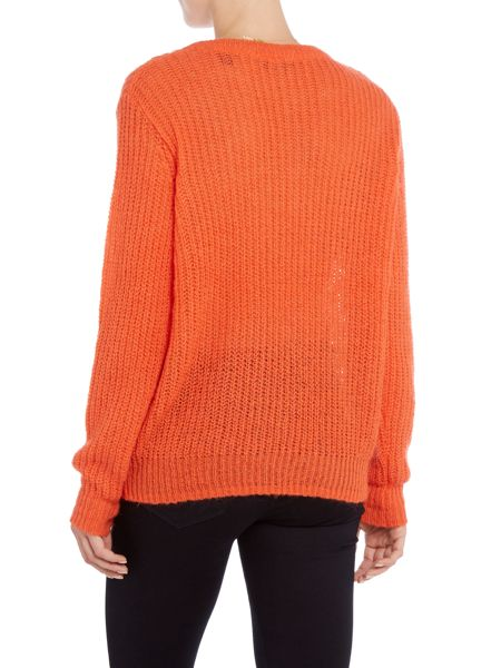 Maison Scotch Fluffy mohair crew neck pullover