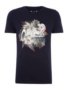 Jack & Jones Floral-Logo Short-Sleeve T-shirt