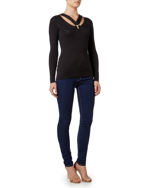 Versace Jeans Cut Out Buckle Neck Top