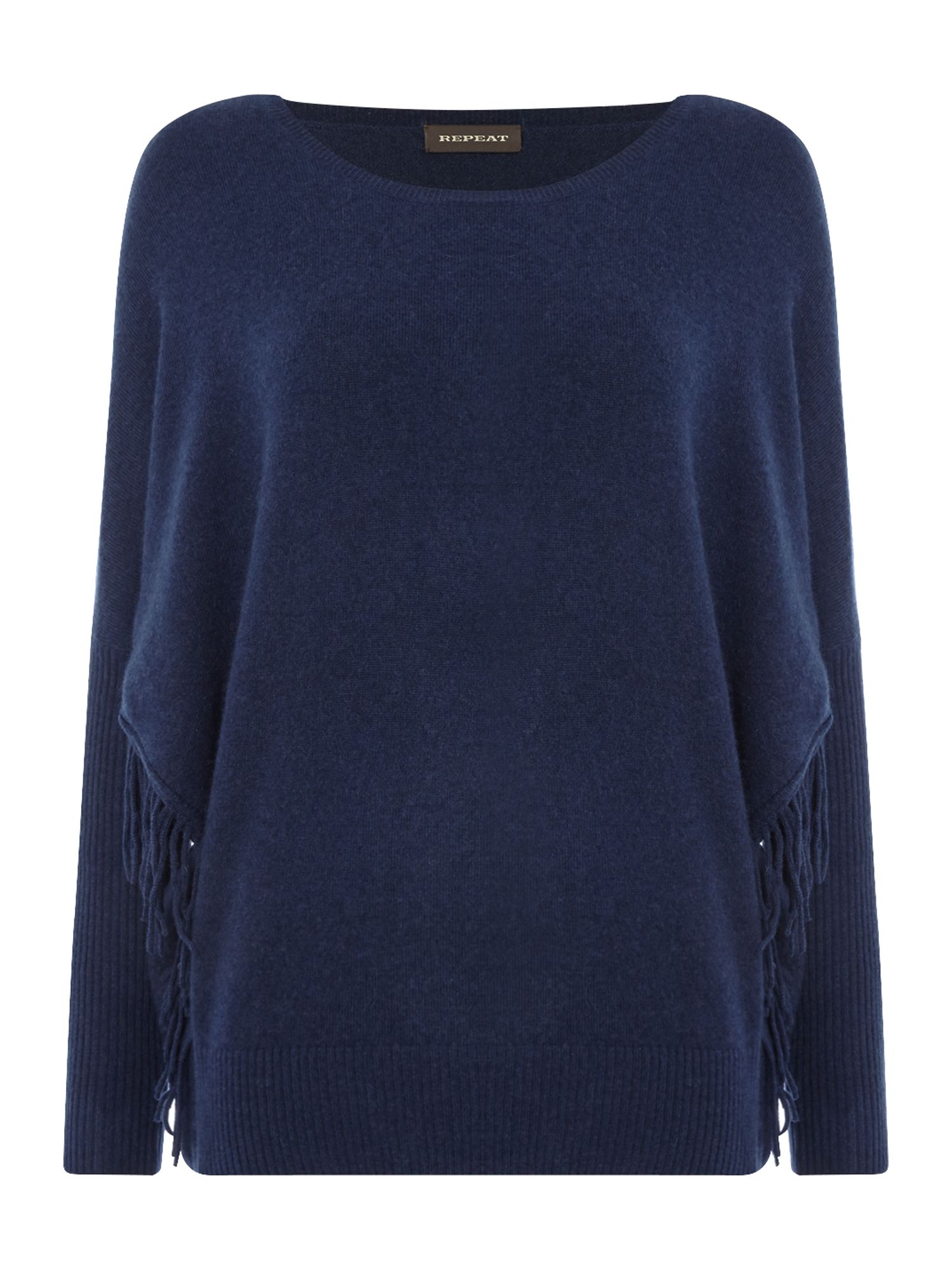 Repeat Cashmere Repeat Cashmere Round neck side fringe jumper, Navy