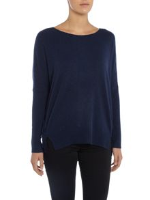 Repeat Cashmere Round neck side fringe jumper