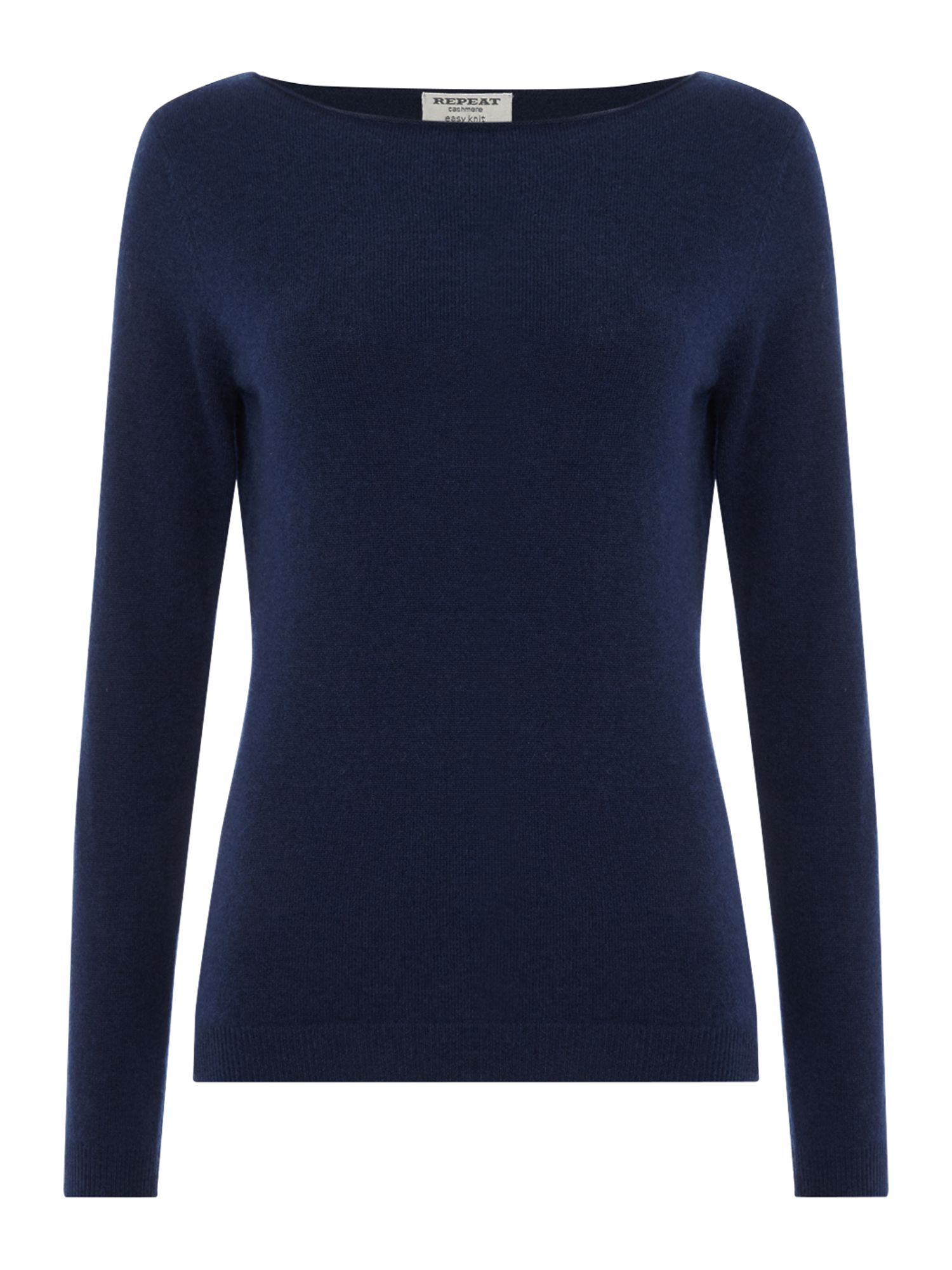 Repeat Cashmere Repeat Cashmere Round neck roll edge jumper, Navy