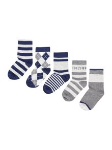 Benetton Boys 5 Pack Patterned Socks