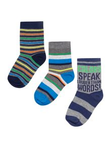 Benetton Boys 3 Pack Striped Socks