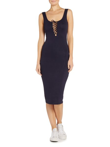Bardot Sleeveless Lace Up Bodycon Dress