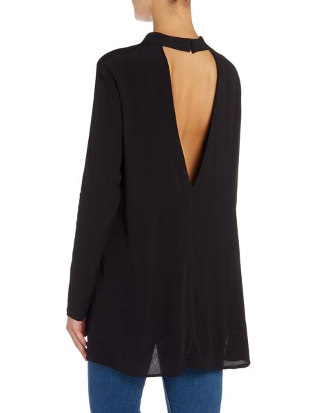 Bardot Long Sleeved Choker Cut Out Tunic Top