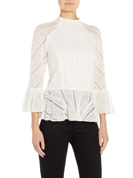 Bardot Long Sleeved Bell Sleeve Lace Top