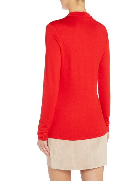 Bardot Long Sleeved Choker Keyhole Top